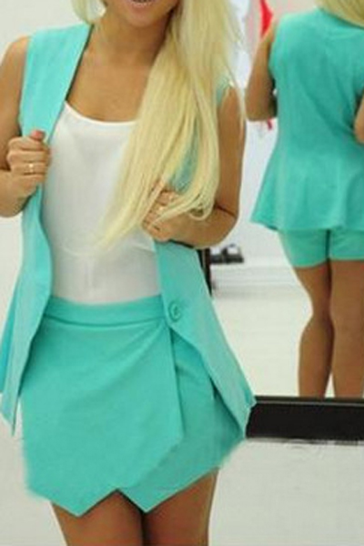 Fashion Sleeveless Blue Polyester Two-piece Outfit(Coat+Shorts)<br>