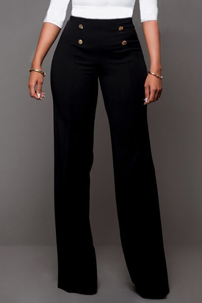 Trendy High Waist Double-breasted Decorative Black Polyester Pants<br>