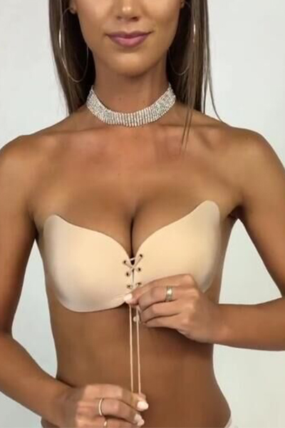 Sexy Lace-up Skin Color Spandex Bra<br>