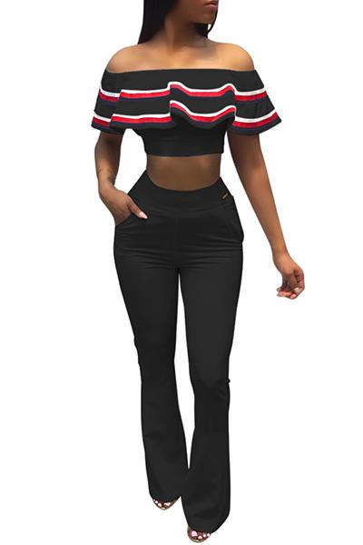 Trendy Dew Shoulder Zipper Design Black Healthy Fabric Two-piece Pants Set<br>