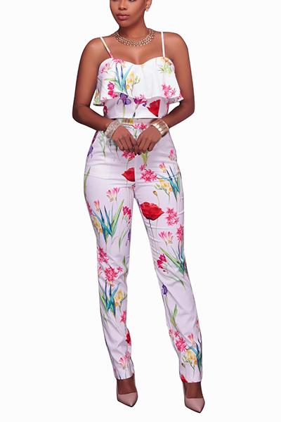 Stylish Rose Printed White Healthy Fabric Two-piece Pants Set<br>