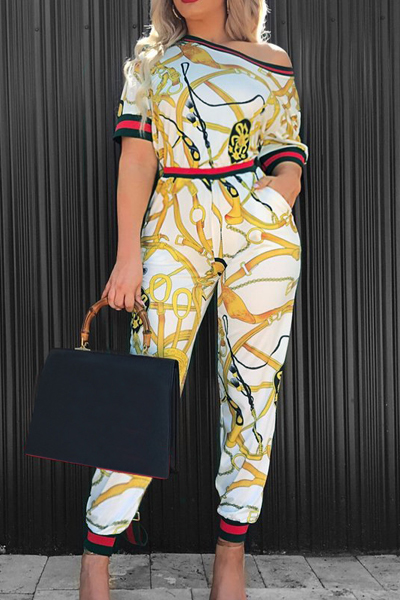 Fashion Round Neck Printed Patchwork White Cotton Two-piece Pants Set<br>