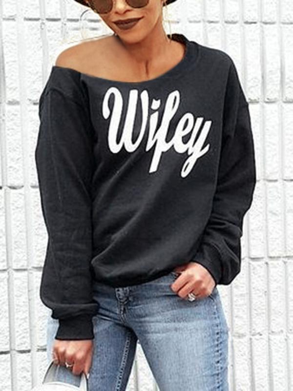 Trendy Dew Shoulder Letters Printed Black Cotton Blends Pullovers<br>