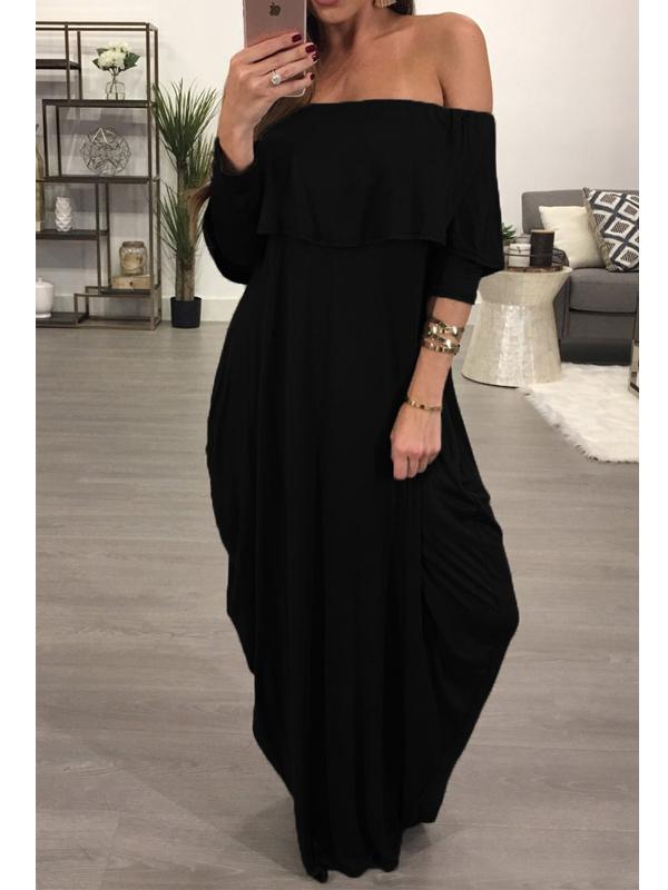 Fashion Dew Shoulder Falbala Design Black Cotton Blend Ankle Length Dress Dresses <br><br>