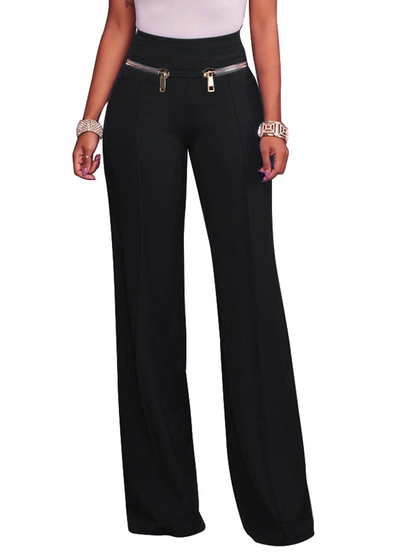 Fashion High Waist Black Cotton Blends Pants<br>