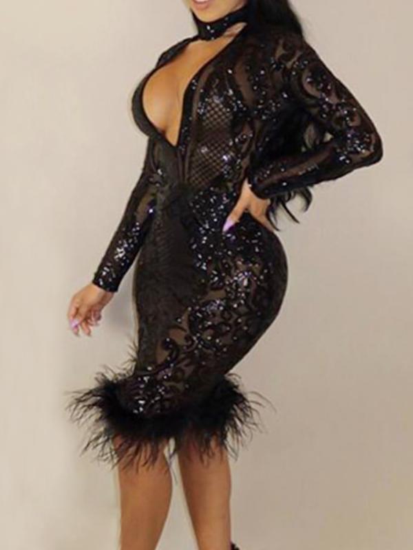 Sexy Deep V Neck See-Through Black Polyester Sheath Knee Length Dress Dresses <br><br>