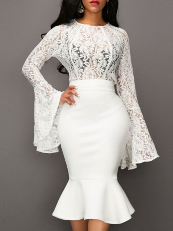 Stylish Round Neck See-Through White Lace Two-piece Skirt Set<br>