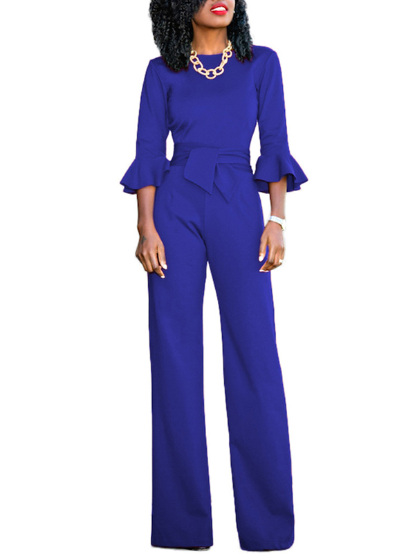 Euramerican Round Neck Half Sleeves Blue Knitting One-piece Jumpsuits (Without Necklace)<br>