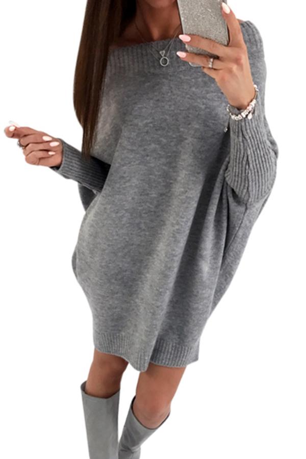 Trendy Dew Shoulder Grey Knitting Sweaters Dresses <br><br>