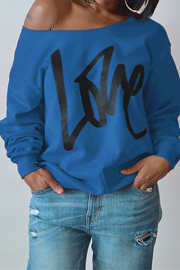 Leisure Round Neck Long Sleeves Letters Printing Royalblue Cotton Pullover<br>