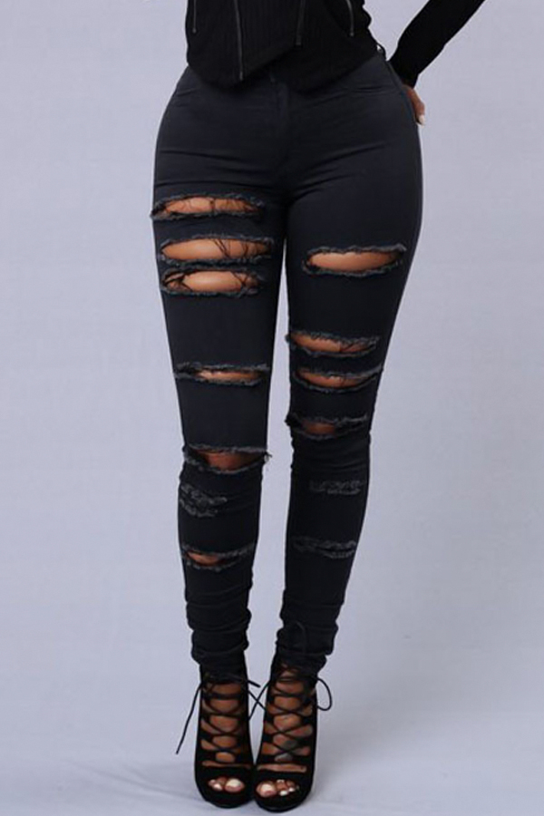 Stylish High Waist Broken Holes Black Denim Pants<br>