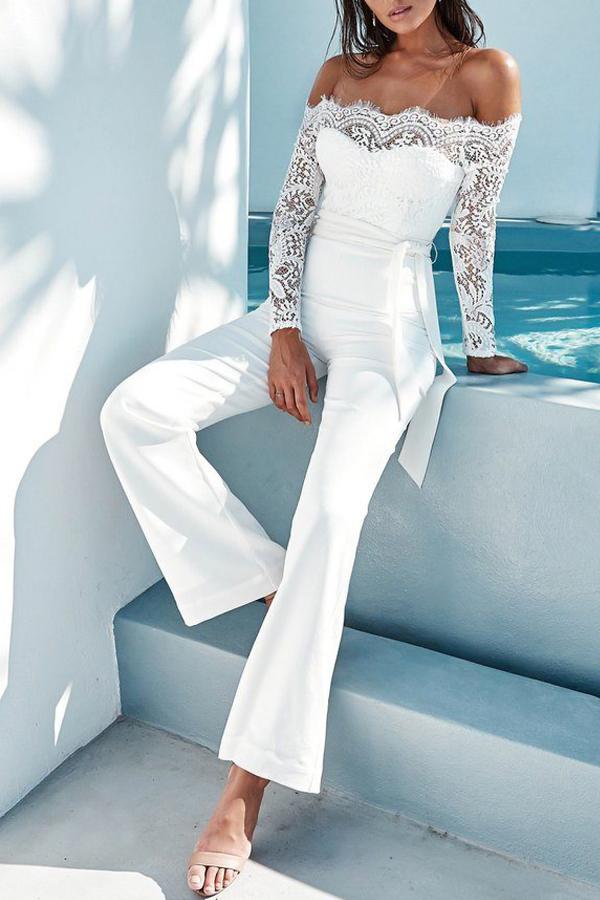 Trendy Dew Shoulder Lace Trim Patchwork White Polyester One-piece Jumpsuits<br>