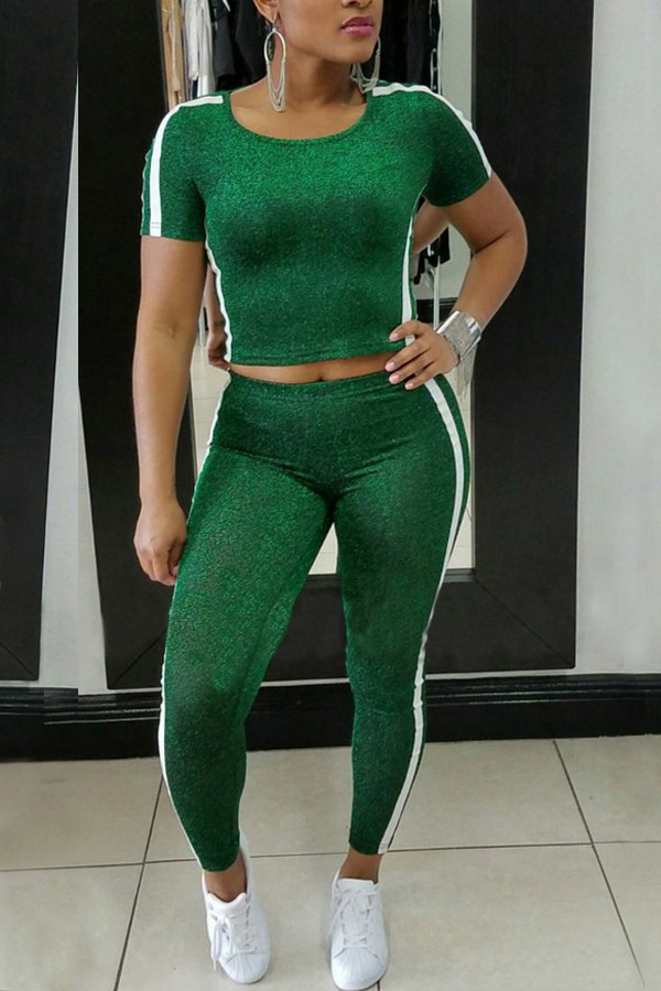 Leisure Round Neck Patchwork Green Polyester Two-piece Pants Set<br>