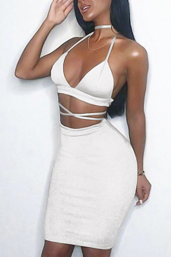 Sexy Backless Hollow-out White Cotton Two-piece Skirt Set<br>