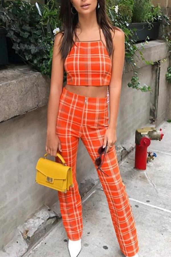 Orange-red Polyester Pants Plaid U neck Sleeveless Fashion Two Pieces<br>