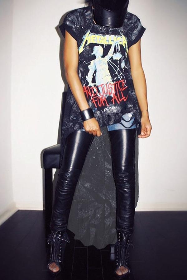 Trendy Printed Asymmetrical Black Milk Fiber Ankle Length Dress Dresses <br><br>