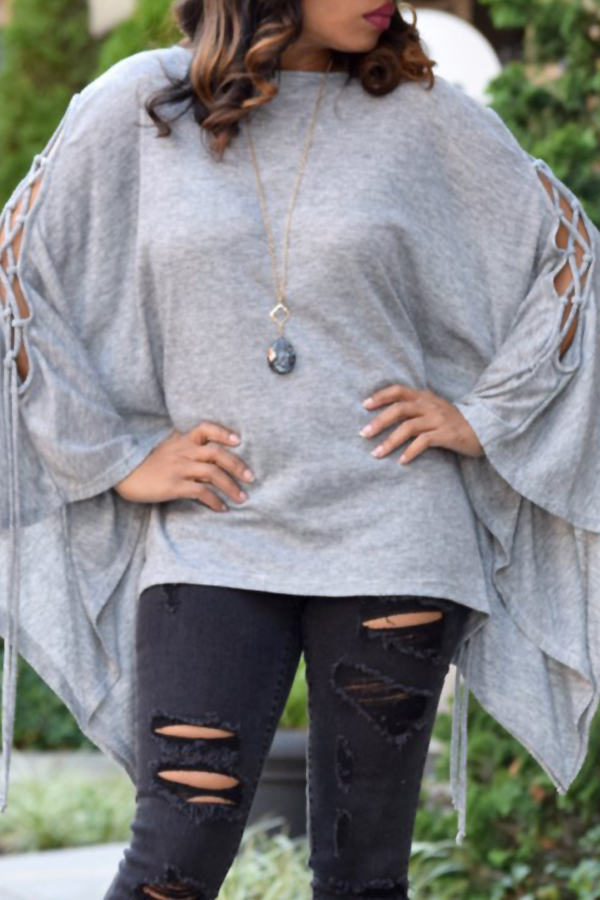 Euramerican Round Neck Batwing Sleeves Design Grey Cotton Shirts<br>