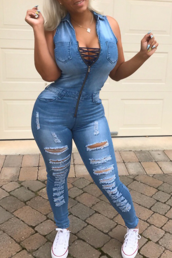 Euramerican Turndown Collar Lace-up Hollow-out Blue Denim One-piece Jumpsuits<br>