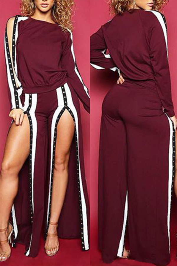 Fashionable Round Neck Slit Design Wine Red Cotton Two-piece Pants Set<br>