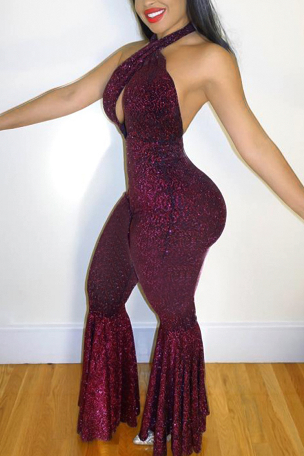Sexy Halter Neck Backless Purple Polyester One-piece Jumpsuits<br>