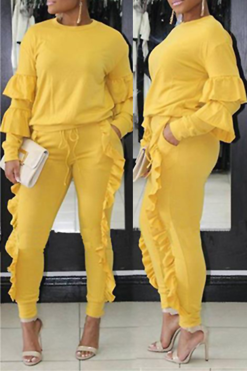 Fashionable Round Neck Ruched Yellow Blending Two-piece Pants Set<br>