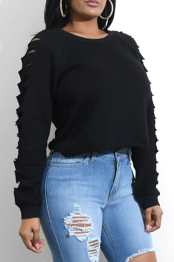 Fashionable Round Neck Hollow-out Black Spandex Hoodies<br>