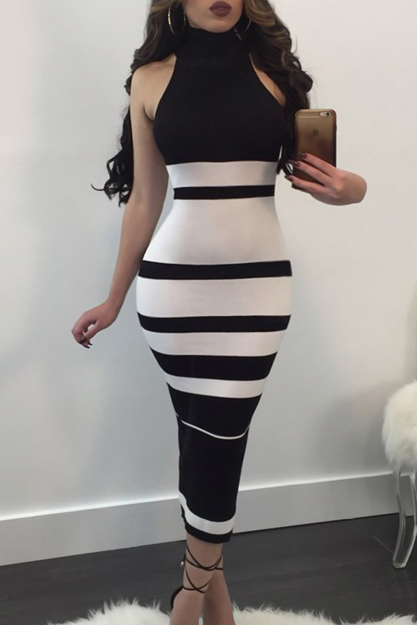 Fashionable Turtleneck Striped Patchwork  Polyester Mid Calf Dress Dresses <br><br>