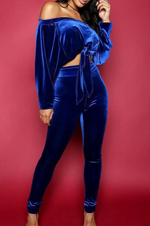 Casual Bateau Neck Knot Design Blue Cotton Two-piece Pants Set<br>