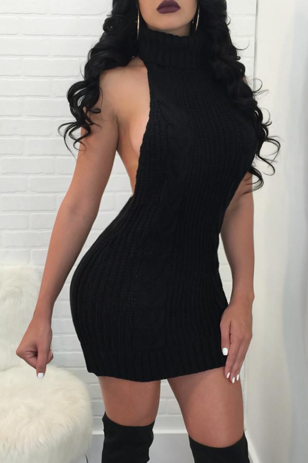 Sexy Turtleneck Backless Black Knitting Mini Dress Dresses <br><br>