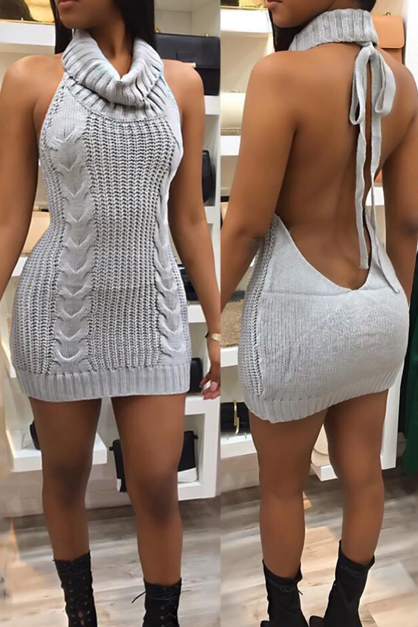 Sexy Turtleneck Backless Grey Knitting Mini Dress Dresses <br><br>