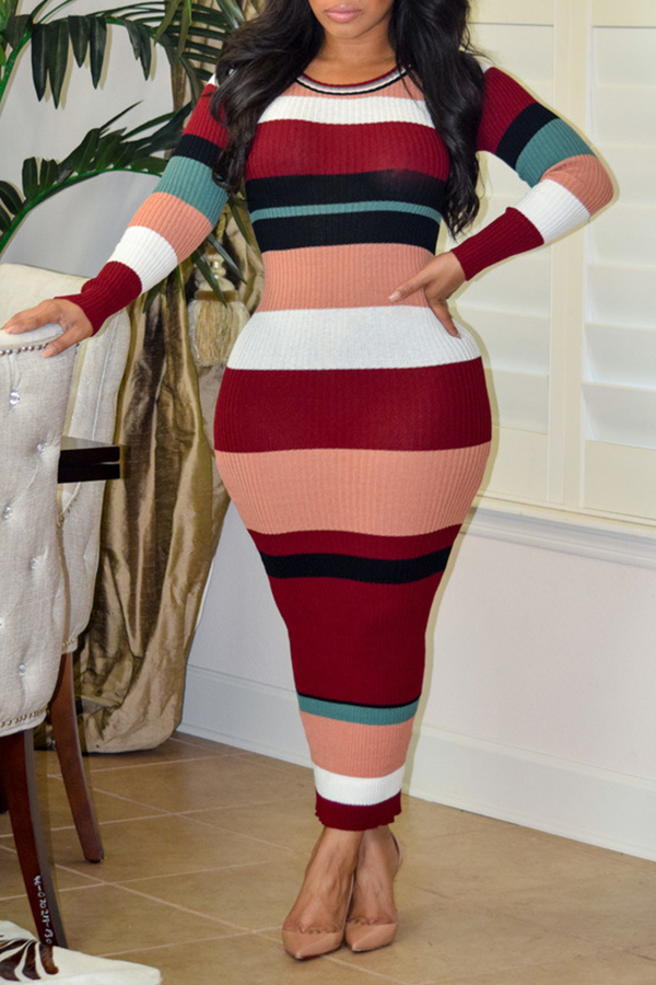 Sexy Round Neck Striped Patchwork Wine Red Polyester Ankle Length Dress Dresses <br><br>