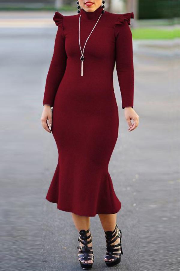 Fashionable Turtleneck Lotus Leaf Hem Wine Red Blending Mid Calf Dress Dresses <br><br>