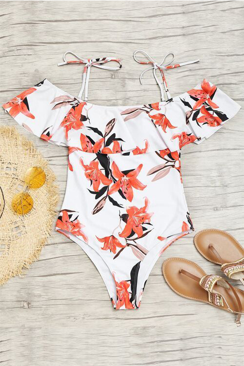 Sexy Floral Printed White Polyester Teddy Swimwear<br>