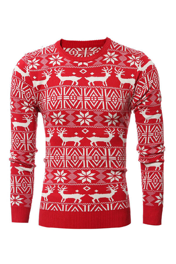 Casual Round Neck Long Sleeves Printed Red Cotton Blends Sweaters<br>