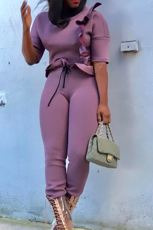 Stylish Round Neck Falbala Design Purple Polyester Two-Piece Pants Set<br>