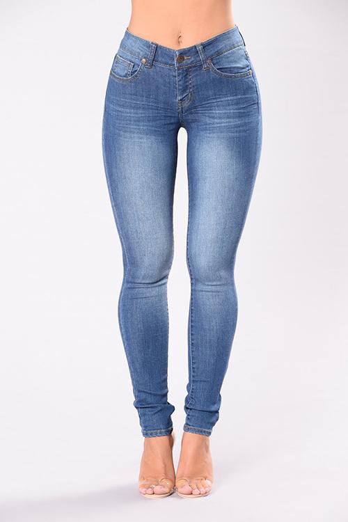 Fashion Mid Waist Blue Denim Zipped Jeans<br>