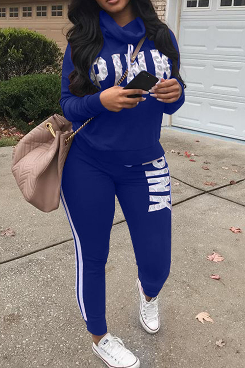 Casual Heaps Collar Letters Printed Striped Royalblue Qmilch Two-Piece Pants Set<br>