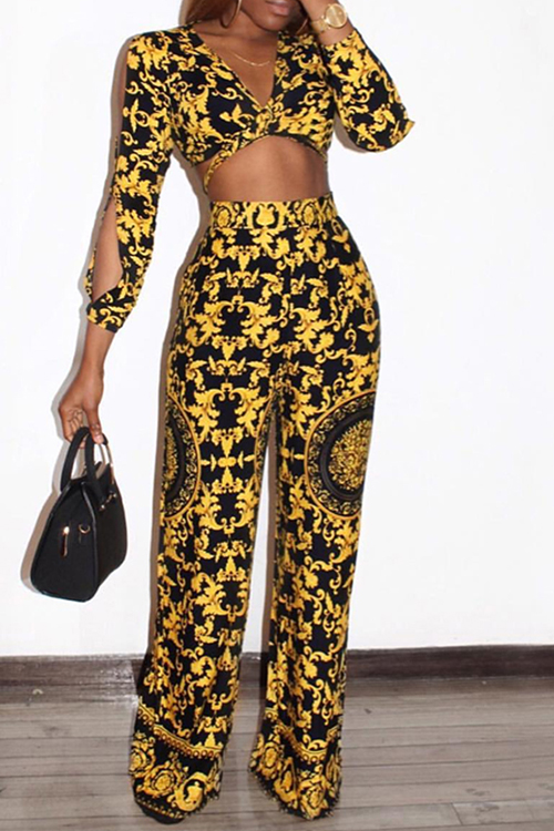 Stylish V Neck Printed Hollow-out Yellow Qmilch Two-Piece Pants Set<br>