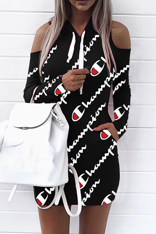 Euramerican Hooded Collar Cold-shoulder Letters Printed Black Polyester Mini Dress(Non Positioning Printing) Dresses <br><br>