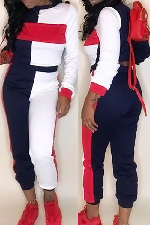 LovelyMulti Blending Pants Color Block O neck Long Sleeve Casual Two Pieces<br>