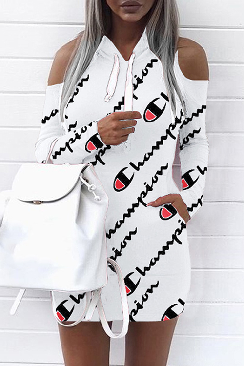 Euramerican Hooded Collar Cold-shoulder Letters Printed White Polyester Mini Dress(Non Positioning Printing) Dresses <br><br>
