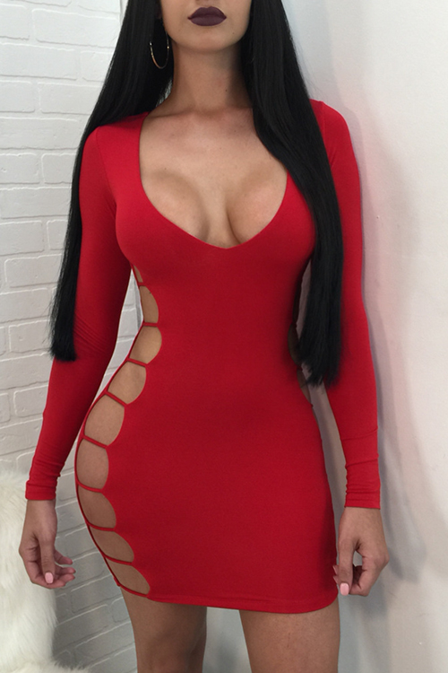 Sexy V Neck Long Sleeves Hollow-out Red Polyester Sheath Mini Dress Dresses <br><br>