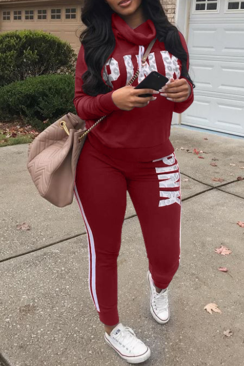 Casual Heaps Collar Striped Letters Printed Red Qmilch Two-Piece Pants Set<br>