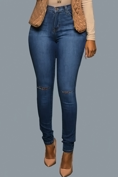 Lovely Fashion Mid Waist Broken Holes Blue Denim Zipped Jeans<br>