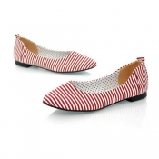 Small pointed toe striped cloth flats shoes red