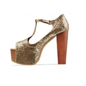 Fashion T Strap Chunky High Heels Platform Golden