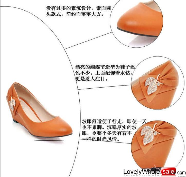 2012 fashion woman temperament water diamond decoration wedge heel shoes