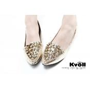 Kvoll shoes rhinestone-studded bridal flats golden