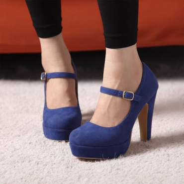 Western style a word style buckle matte pumps