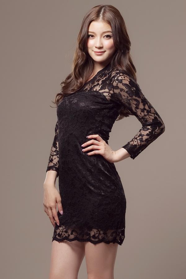 Party Skinny Long Sleeves Solid Black Silk BaseLayers